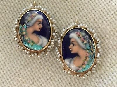 Antique French Enamel Large Portrait & Seed Pearl 14K Gold Pierced Earrings