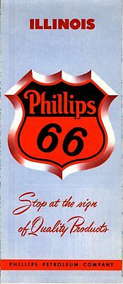 1955 Phillips 66 Road Map: Illinois NOS