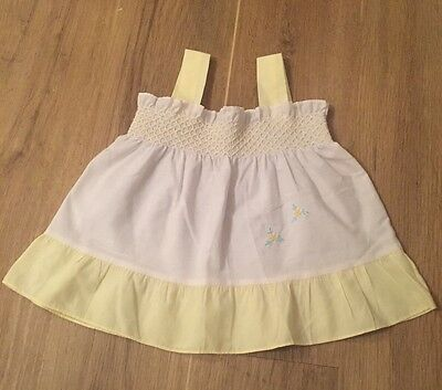 Vintage Lemon Yellow White Girls Smock Top From BHS Floral Embroidery 12 Months
