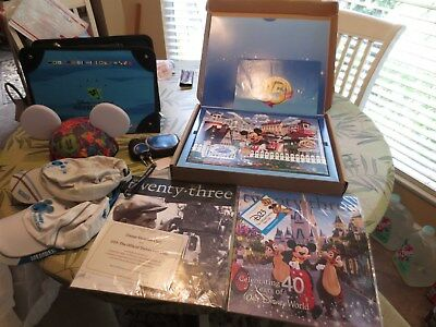 DISNEY VACATION CLUB DVC goodies--caps, giclee print, ears, D23 mags,phone hold