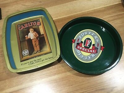 Vintage Beer Trays , Carlton /Fosters , Man Cave, Bar.