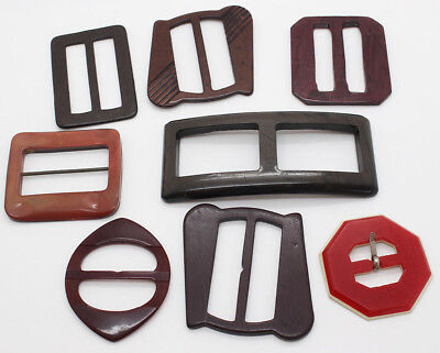 Lucite Early Plastic Slide Belt Buckles X 8 Mixed Styles and Sizes 1920/30s