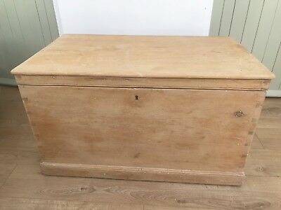 Antique Large Stripped Pine Blanket Box Trunk Chest