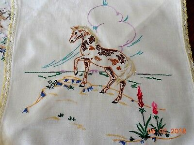 """#896  Vintage Embroidered   """"Horse"""" Table Runner   36x15.50"""""""