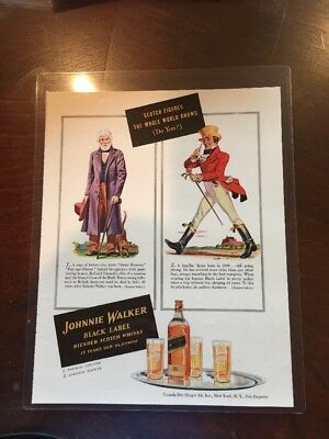 Johnnie Walker Black Label Vintage Laminated Magazine AD 8.5 x 10.5