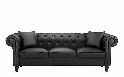 VICTORIAN CHESTERFIELD SOFA Vintage Tufted Black Leather Scroll Arm Couch  Seat