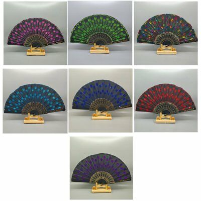 Peacock Pattern Folding Hand Fan Embroidered Sequin for Party Wedding Dance U2