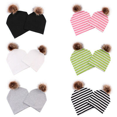 2 Pack Winter Warm Cotton Baggy Slouchy Pom Pom Beanie Cap Hat for Mom & Baby