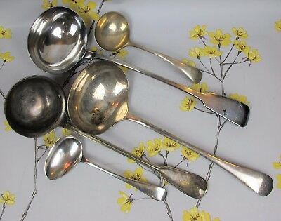 Vintage mixed lot of silver plated SERVING CUTLERY: SOUP & SAUCE LADLES, SPOONS.