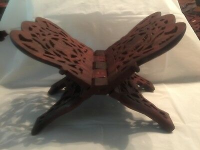 Hand Carved Wood Folding Book Stand Made in India Bible or Cookbook Holder