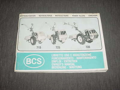 BCS walking tractor owners manual 1985