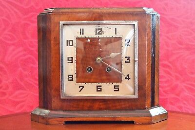 Vintage Art Deco English 8-Day Striking Mantel Clock with French Movement