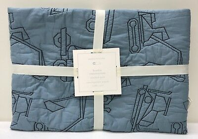 NEW Pottery Barn KIDS Braden Construction Toddler Crib Quilt, BLUE
