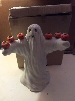 Vintage SILVESTRI CELEBRATIONS GHOST PUMPKIN CANDLE HOLDER. TAIWAN ROC 1980?