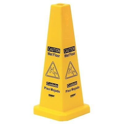 HUBERT Yellow Plastic 4 Sided Wet Floor Cone - 11L x 11W x 27H (English/Spanish)