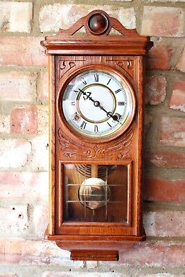 Vintage Solid Wood Carved Case 8-Day Striking Wall Clock