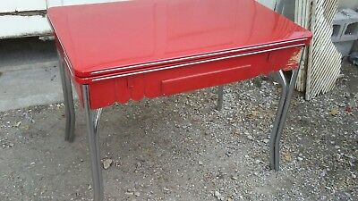 Vintage 1948 red porcelain enamel farmhouse kitchen table cottage chrome