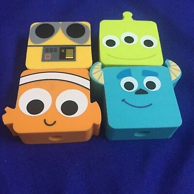 pixar disney pencil erasers set of four sulley wall-e nemo alien