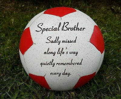 Brother Grave Memorial Ornament Remembrance Red Football  Plaque Brother