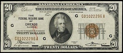 1929 $20 Federal Reserve Bank Of Chicago Il Note Choice Vf Bep Mark Face (296A)