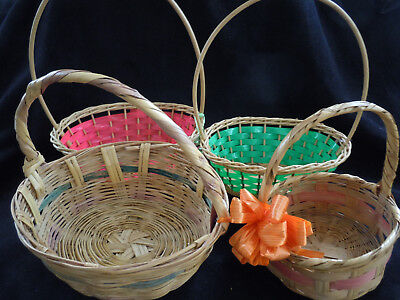 Lot Of 4 Vintage 1950's Woven Wicker Round Easter Baskets
