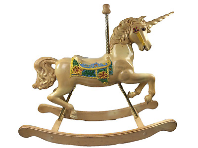 "Unicorn Wood Carousel Rocking Horse  Hand Carved 43""In. S&S Woodcarvers Painted"