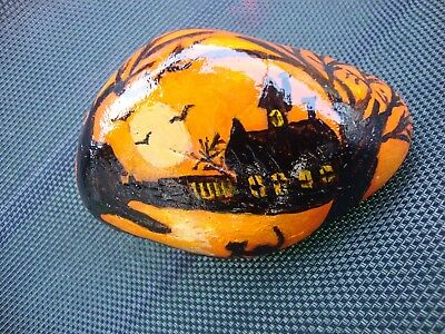 Halloween spooky house pebble art - hand painted stone, garden, Trick or Treat