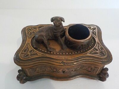 19th Century Black Forest Style Sewing Box, Carved Dog