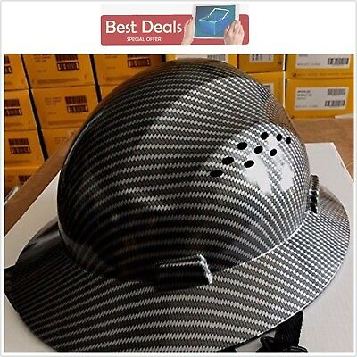 New HDPE Hydro Dipped Black Full Brim Hard Hat with Fas-trac Suspension