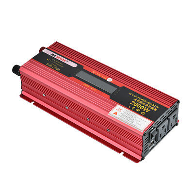 2000W Power Inverter Dual Outlets and 1 USB Charging Ports DC 12V to 110V