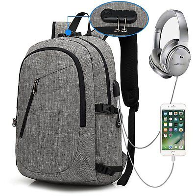 Laptop Backpack School Bag USB Charging Port and Headphone Jack Water Resistant