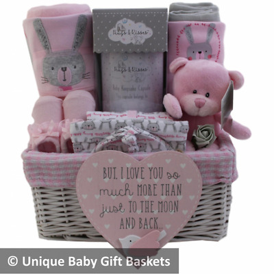 Baby gift basket baby hamper girl with 4 pce clothes set baby shower nappy cake