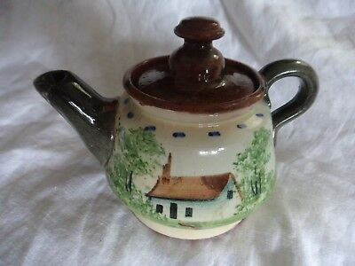vintage Pottery motto ware teapot heavy earthenware