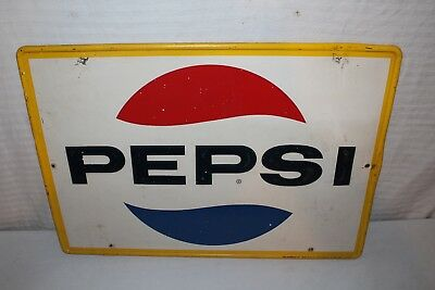 "Vintage 1966 Pepsi Cola Soda Pop Gas Station 28"" Embossed Metal Sign"