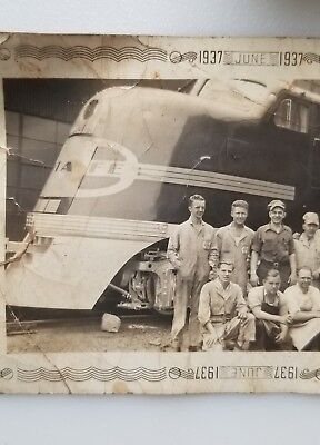 Vintage 1937 Photograph Santa Fe Train Engine Original