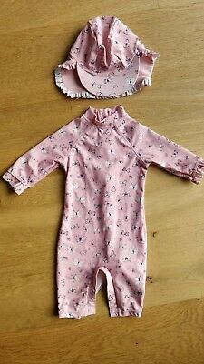 Mothercare Baby girls Swimming costume and hat 6-12 Months