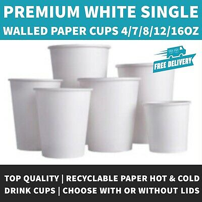 4oz/8oz/12oz/16oz White Paper Coffee Cup With or Without White Sip Through Lid