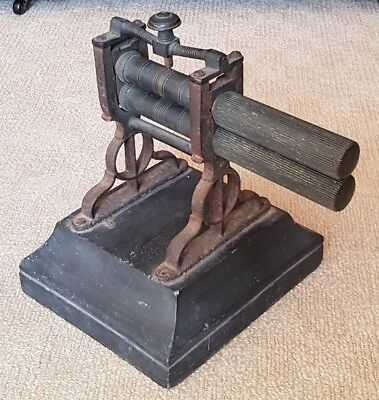 Very rare Antique 19th century Fluting Iron/Crimping Machine. Mangle slate brass