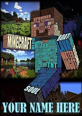 Minecraft Poster A4 Print, Add Any Name