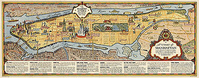 Pictorial Chart Map of Manhattan Vintage Historic Wall Poster Home School Office