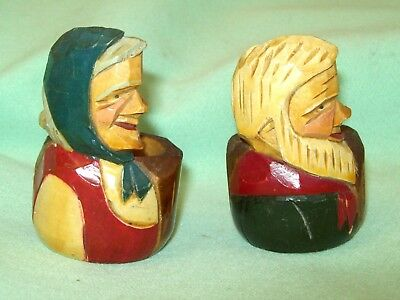 2 Vintage Anri ? Black Forest wood CARVED Man & Woman Napkin Ring Painted detail