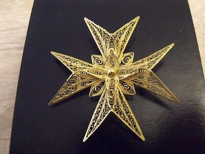 Large Antique 18ct 18k 750 Gold Fine Filigree Malta Cross Pendant and Brooch Box