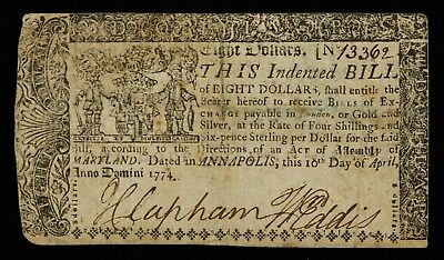1774 Maryland $8 Eight Dollars Colonial Currency Hand Signed Vf Very Fine