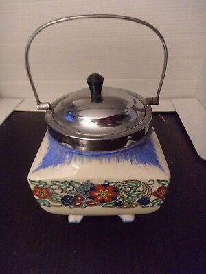 pottery biscuit barrel or caddy Lancaster & Sandland English ware collectable