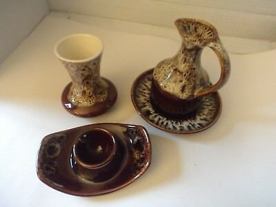 brown honeycomb pottery glaze selection Honiton + New Devon vase vinegar egg cup