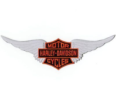 """HARLEY DAVIDSON MOTORCYCLES Embroidered Patch 12"""" Silver Wings Ships Same Day!"""