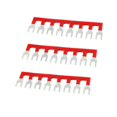 3PCS Terminal Connector Strip Circuit Chip Wiring Connecting Bar Red 600V
