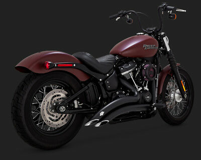2018 Harley Softail FXFB Fat Bob Vance and Hines Black Big Radius Exhaust 46077