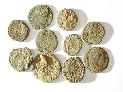 10 ANCIENT ROMAN COINS AE3 - Uncleaned and As Found! - Unique Lot X21121