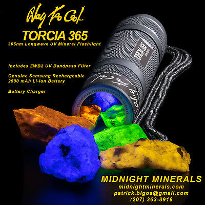 Way Too Cool TORCIA 365nm LW UV LED Mineral Flashlight Batt+Charger (Convoy S2+)